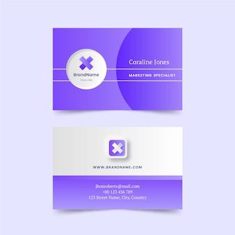 Sjabloon voor paarse neumorph-visitekaartjes