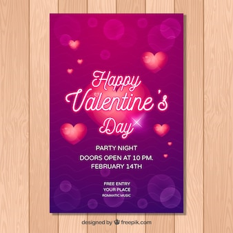 Sjabloon voor paarse valentijn flyer