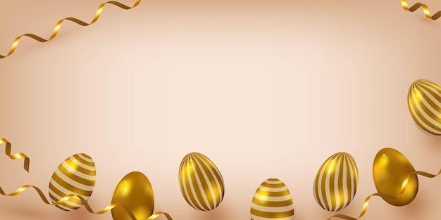 Sjabloon voor pasen banner feestelijke achtergrond met gouden eieren en confetti elegante stijl