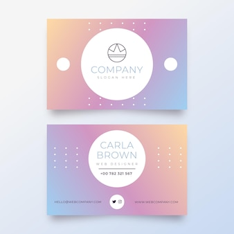 Sjabloon voor pastel kleurovergang visitekaartjes