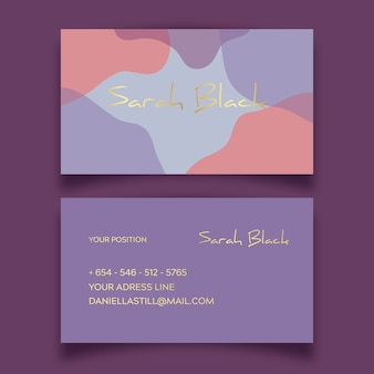 Sjabloon voor pastelkleurige vlekken abstracte visitekaartjes
