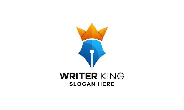 Sjabloon voor pen king-logo met kleurovergang