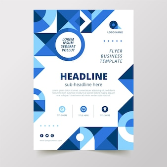 Sjabloon voor plat geometrische verticale business flyer