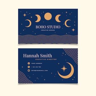 Sjabloon voor plat horizontaal boho-visitekaartje