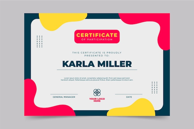 Sjabloon voor plat modern certificaat van deelname