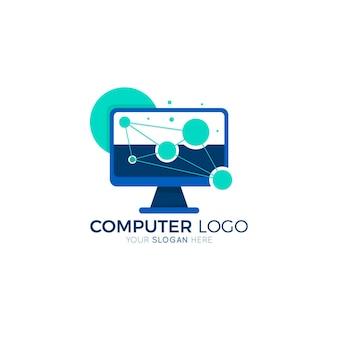 Sjabloon voor plat ontwerp laptop logo