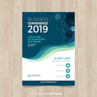 Sjabloon voor platte abstracte business conference flyer
