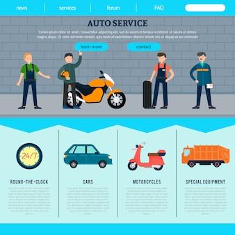 Sjabloon voor platte autoservice-website