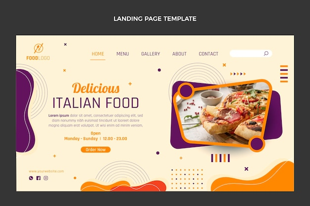 Sjabloon voor platte bestemmingspagina's voor italiaans eten
