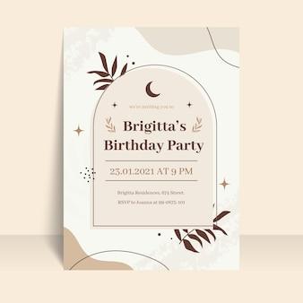 Sjabloon voor platte boho-verjaardagsuitnodigingen