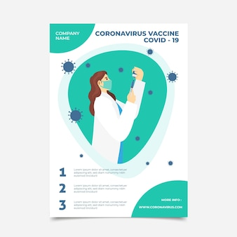 Sjabloon voor platte coronavirus vaccinatie folder