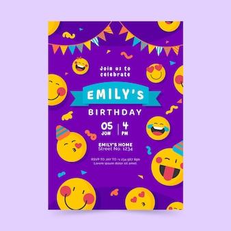 Sjabloon voor platte emoji-verjaardagsuitnodiging