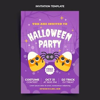Sjabloon voor platte halloween-feestuitnodiging