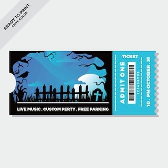 Sjabloon voor platte halloween-tickets