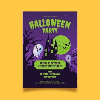 Sjabloon voor platte halloween verticale partij flyer