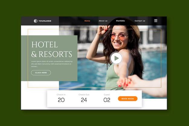 Sjabloon voor platte hotellandingspagina met foto