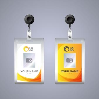 Sjabloon voor platte id-kaarten met gesp en vanglijn