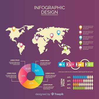 Sjabloon voor platte kaart infographic ontwerp