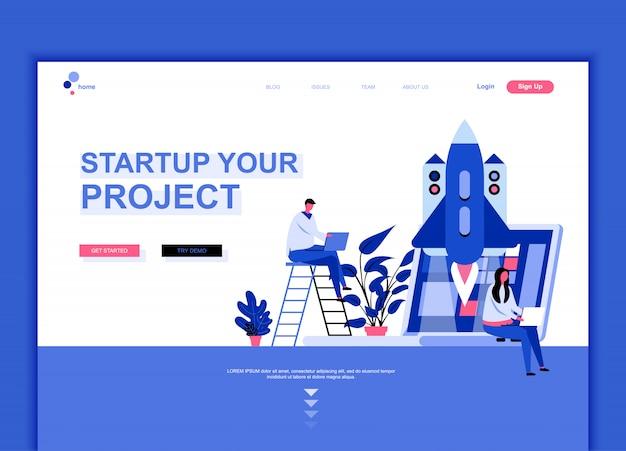 Sjabloon voor platte landingspagina's van startup project