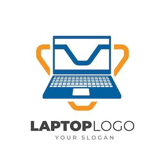 Sjabloon voor platte laptop-logo