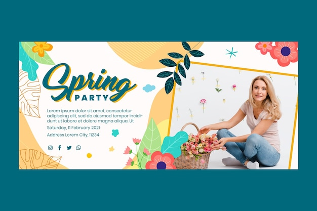 Sjabloon voor platte lente horizontale banner