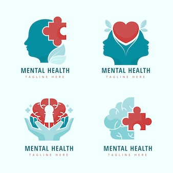 Sjabloon voor platte logo's voor geestelijke gezondheid