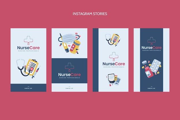 Sjabloon voor platte medische instagramverhalen