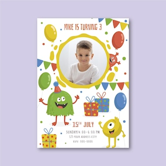 Sjabloon voor platte monsterverjaardagsuitnodiging met foto