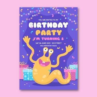 Sjabloon voor platte monsterverjaardagsuitnodiging