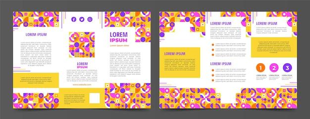 Sjabloon voor platte mozaïek driebladige brochure