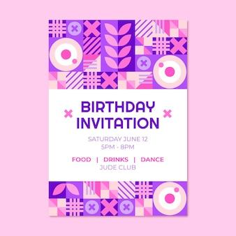 Sjabloon voor platte mozaïek verjaardagsuitnodiging