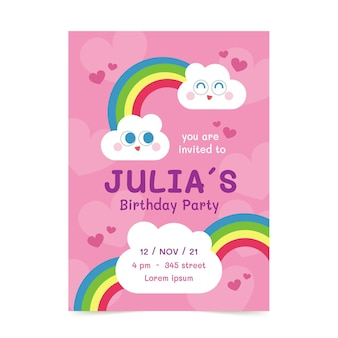 Sjabloon voor platte regenboog verjaardagsuitnodiging