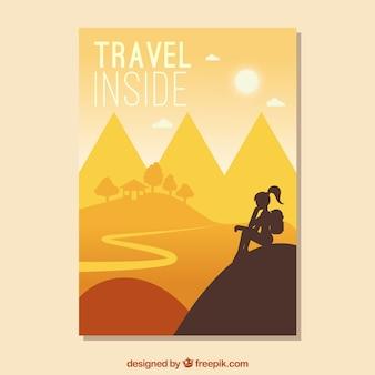 Sjabloon voor platte reizen flyer met adveture stijl