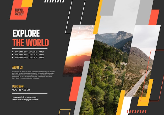 Sjabloon voor platte reizen horizontale flyer