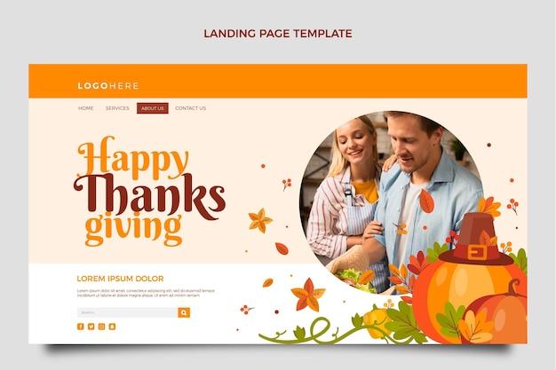 Sjabloon voor platte thanksgiving-bestemmingspagina