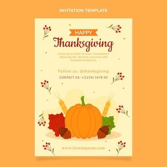 Sjabloon voor platte thanksgiving-uitnodiging