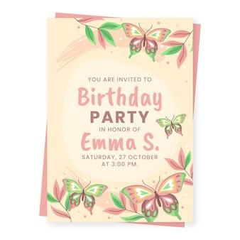 Sjabloon voor platte vlinder verjaardagsuitnodiging