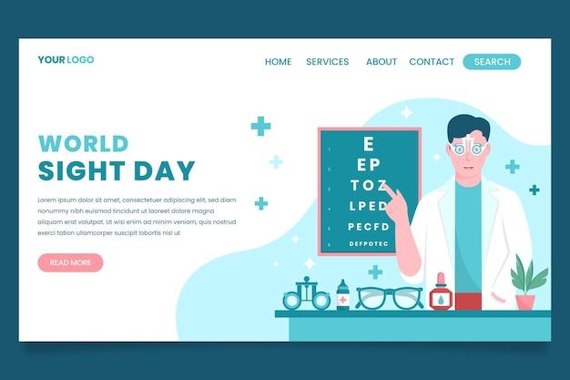 Sjabloon voor platte wereldgezichtsdag voor bestemmingspagina's