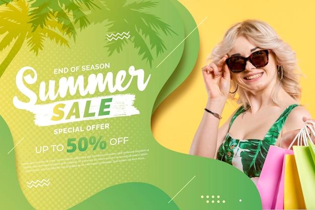 Sjabloon voor platte zomer verkoop horizontale spandoek met foto