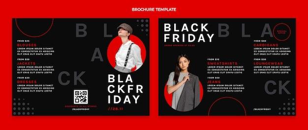 Sjabloon voor platte zwarte vrijdag driebladige zakelijke brochure