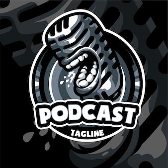 Sjabloon voor podcast-mascotte-logo