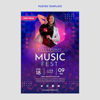 Sjabloon voor poster met kleurovergang kleurrijk muziekfestival