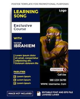 Sjabloon voor poster met liedthema leren