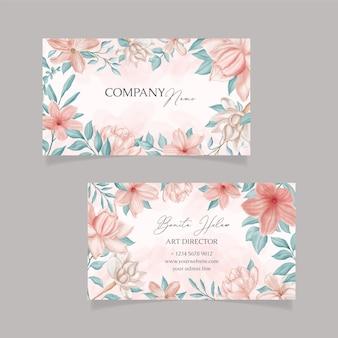 Sjabloon voor prachtige aquarel bloemen visitekaartjes