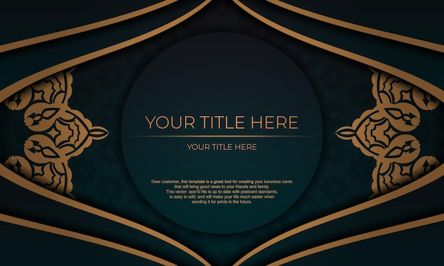 Sjabloon voor print ontwerp uitnodigingskaart met vintage patronen. donkergroene vectorbanner met luxe ornamenten en plaats voor uw tekst.