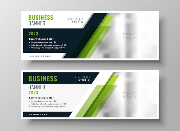Sjabloon voor professionele groene zakelijke banner lay-out