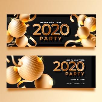 Sjabloon voor realistisch nieuwjaar 2020-feestbanners
