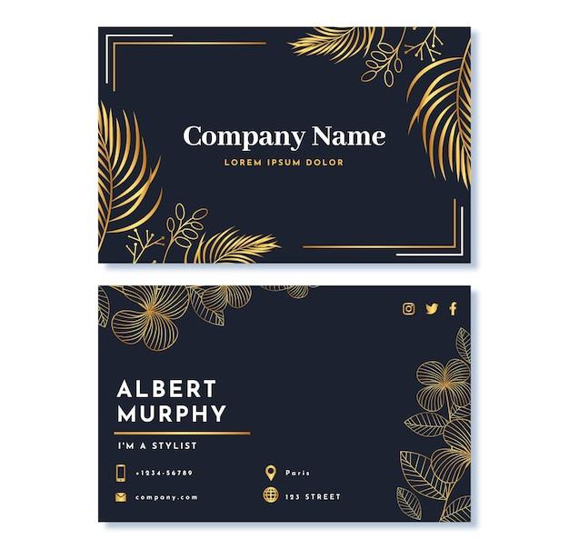Sjabloon voor realistische gouden luxe visitekaartjes