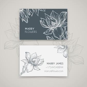 Sjabloon voor realistische hand getekende bloemen visitekaartjes