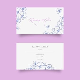 Sjabloon voor realistische handgetekende bloemen visitekaartjes
